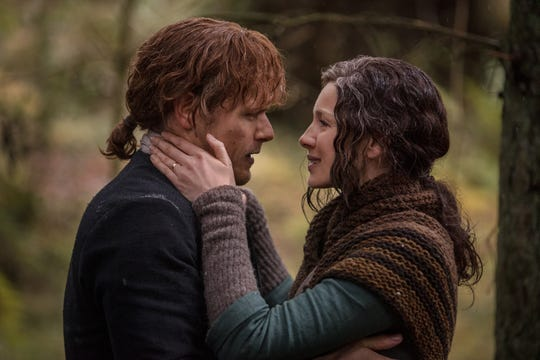 Reunited? Jamie (Sam Heughan) and Claire (Caitriona Balfe) are reunited in the North American woods.