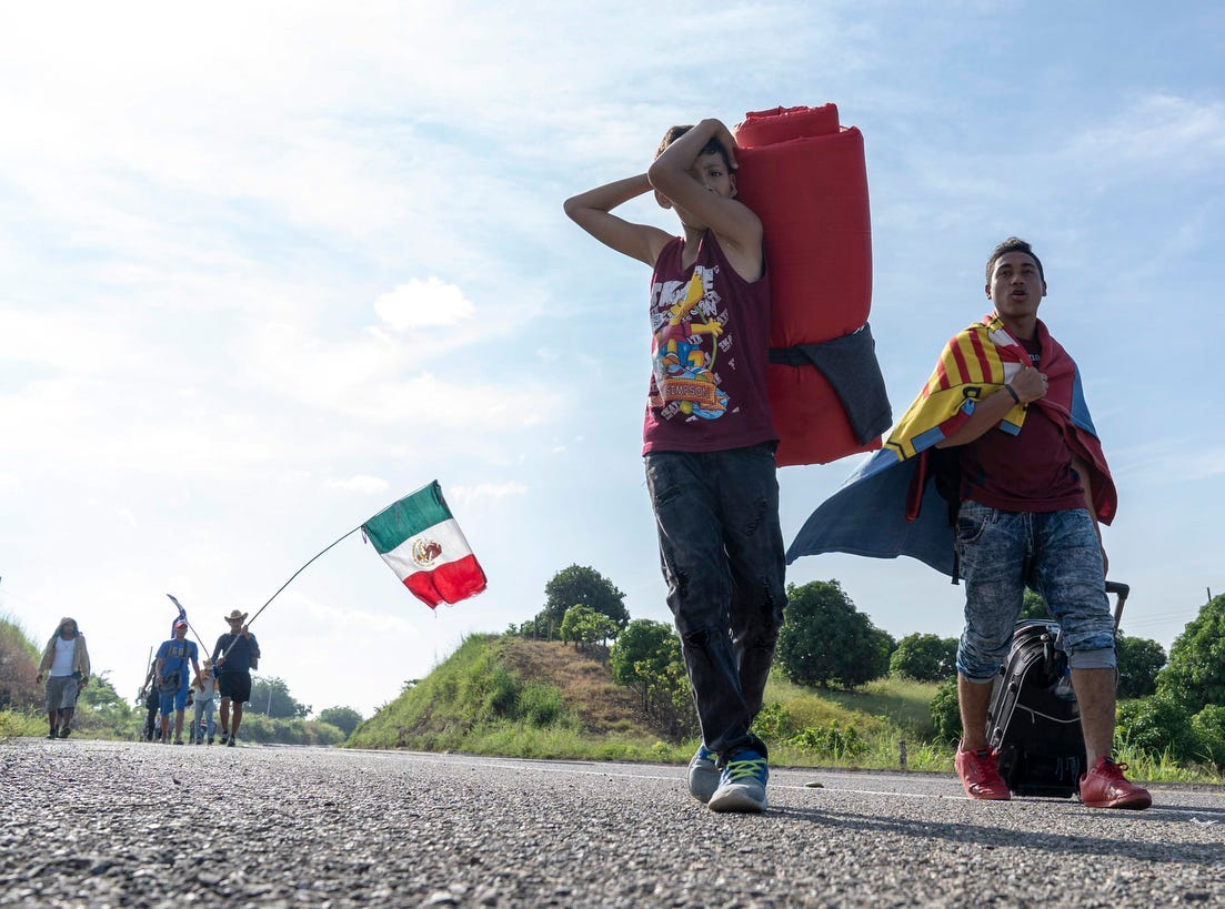 Migrants march from Tapanatepec, Oaxaca, Mexico, before reaching their destination in Santiago Niltepec in the state of Oaxaca.