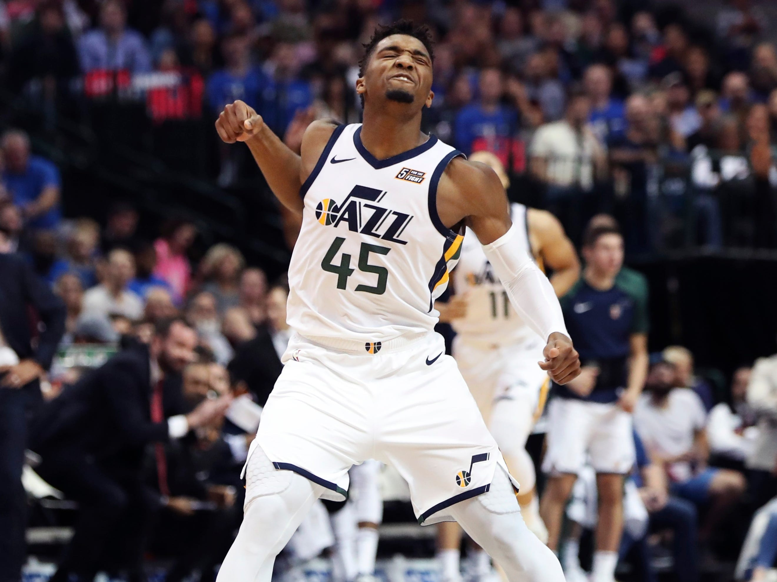 Oct. 28: Jazz guard Donovan Mitchell was fired up after a big second-half bucket against the Mavericks in Dallas.