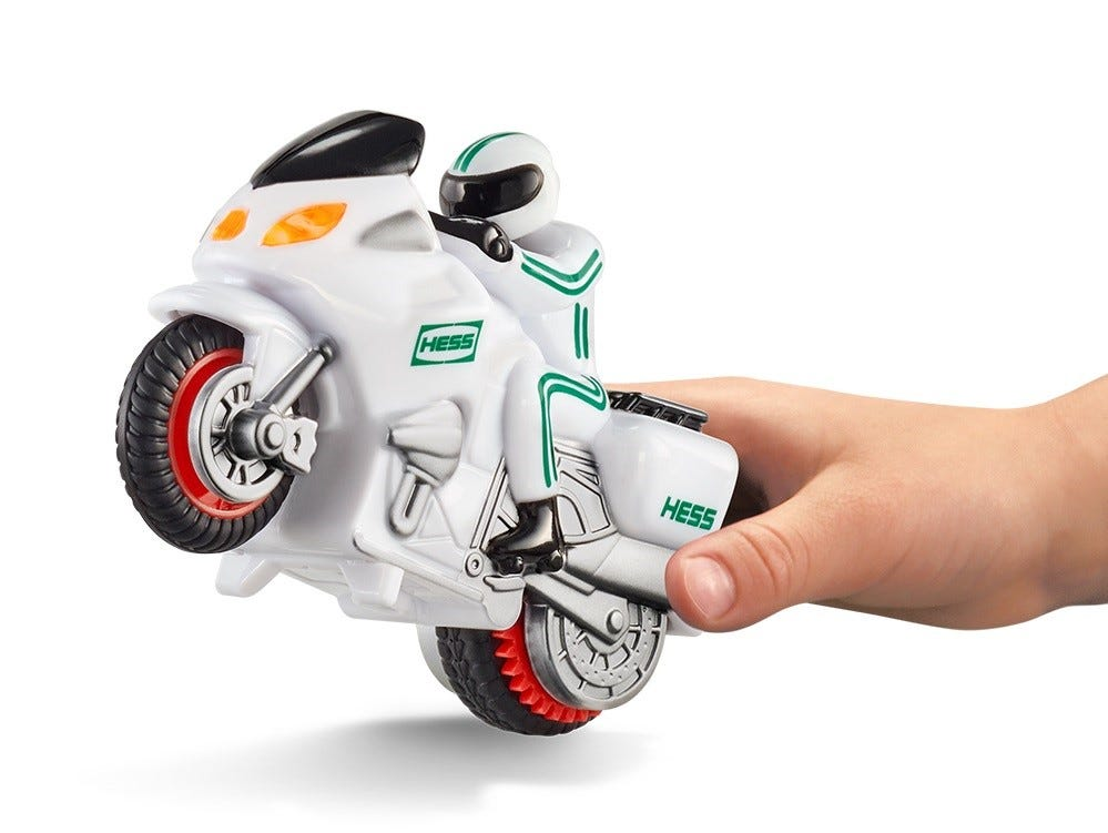This is the motorbike that comes with the 2018 Hess holiday truck.