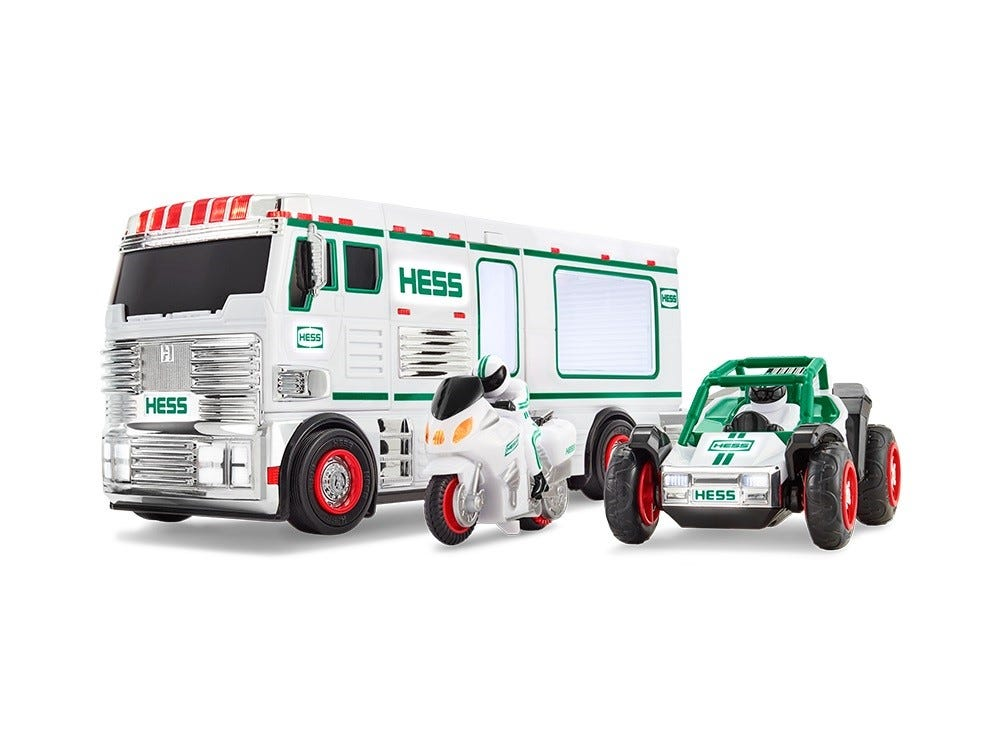 The 2018 Holiday Hess truck includes an RV, motorbike and ATV.