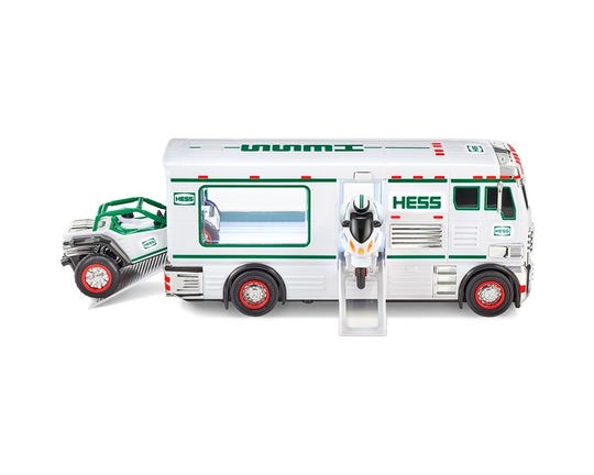 In the 2018 Hess holiday truck set, the ATV and motorbike zoom in and out of the RV.