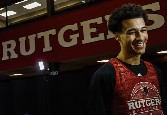 Rutgers guard Caleb McConnell is interviewed during Rutgers men's basketball media day at the RAC in Piscatawy on Oct. 30, 2018.