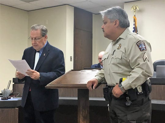 Sgt. Elias Guerra Sr. with the Taylor County Sheriff's Office was presented the county's Law Enforcement Officer of the Third Quarter Award by Judge Downing Bolls on Tuesday.