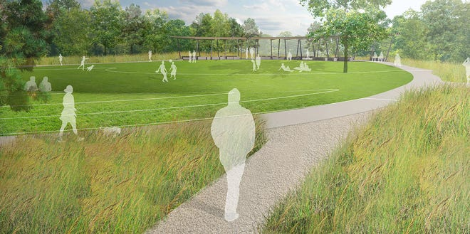 A rendering of Karen Cragnolin Park, a 5-acre former junkyard on Amboy Road and along the French Broad River.