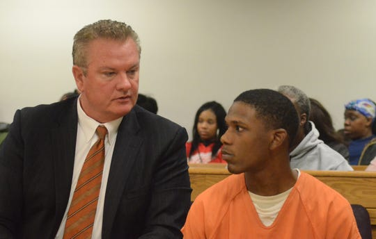 Davion Brown with his attorney, Donald Sappanos Tuesday, Oct. 30.