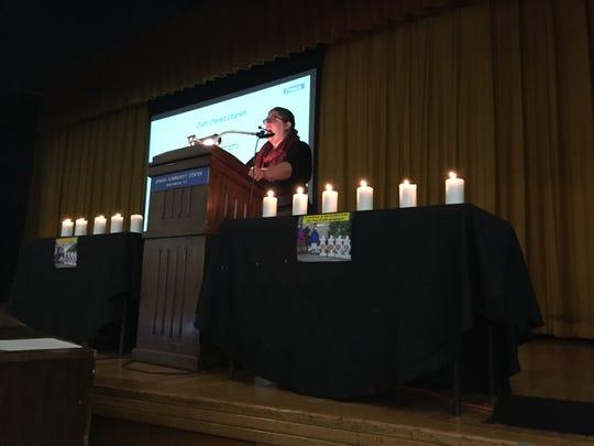 Rabbi Marley Weiner, senior Jewish educator at Hillel at Binghamton University, gives remarks Monday during a vigil at the Jewish Community Center of Binghamton  following the shooting at theTree of Life CongregationSynagogue in Pittsburgh.
