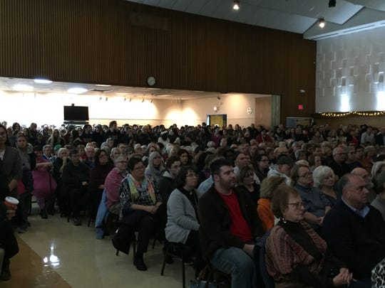 At least 750 people packed the Jewish Community Center of Binghamton for Monday evening's vigil for the victims of Saturday's shooting at the Tree of Life Congregation Synagogue in Pittsburgh.
