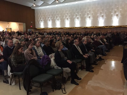 At least 750 people attended Monday evening's vigil at the Jewish Community Center of Binghamton for the victims of Saturday's shooting at the Tree of Life Congregation Synagogue in Pittsburgh.