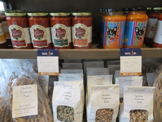 Among the items sold at the Taste of NY store at the Southern Tier Welcome Center at Interstate 81, Kirkwood are Little Venice pasta sauce and Lost Dog vodka sauce.