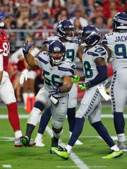 Seahawks linebacker Mychal Kendricks (56) during a Sept. 30 game against the Arizona Cardinals.