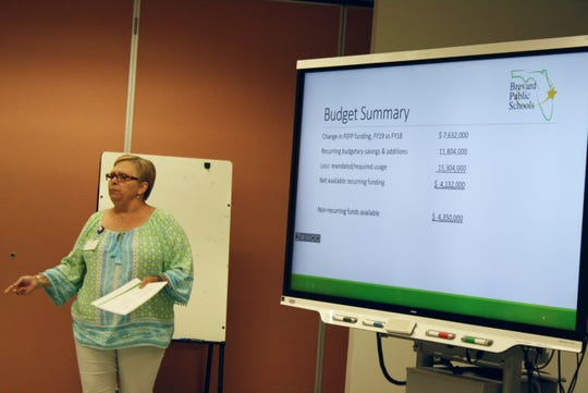District chief financial officer Pennie Zuercher makes a presentation to the Brevard teachers union.