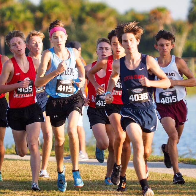 Left to right: Troy Smith (Rockledge), Justin Wilson (Satellite), Gabriel Montague (Satellite), Matthew Cummings (Cocoa Beach) and Gavin O'Brien (Astronaut) run the District 13-2A race at Chain of Lakes Park in Titusville on Saturday. Courtesy of Angie O'Brien.