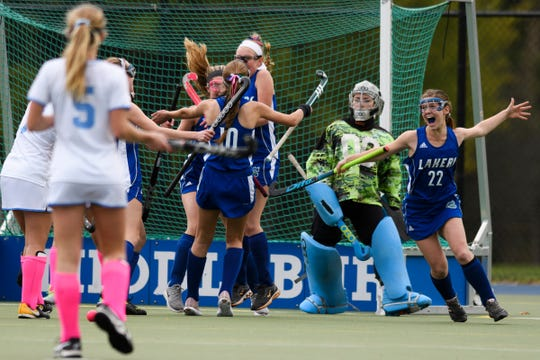 Colchester celebrates a goal during the semifinal field hockey game between the South Burlington Wolves and the Colchester Lakers at Middlebury College on Monday afternoon October 29, 2018 in Middlebury.