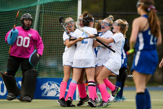 South Burlington celebrates a goal during the semifinal field hockey game between the South Burlington Wolves and the Colchester Lakers at Middlebury College on Monday afternoon October 29, 2018 in Middlebury.