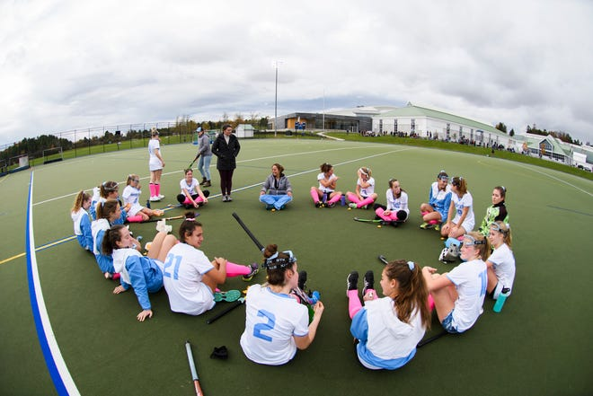 South Burlington talks during half time during the semifinal field hockey game between the South Burlington Wolves and the Colchester Lakers at Middlebury College on Monday afternoon October 29, 2018 in Middlebury.