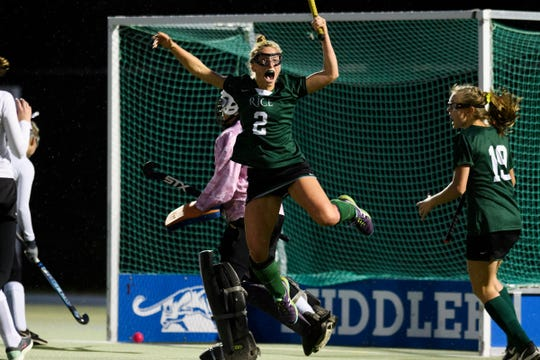 Rice's Lisa McNamara (2) celebrates after scoring a goal during the semifinal field hockey game between the Rice Green Knights and the Bellows Falls Terriers at Middlebury College on Monday afternoon October 29, 2018 in Middlebury.