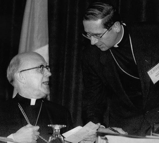 Archbishop Daniel E. Pilarczyk of Cincinnati, left, in 1990 when he was the president of the National Conference of Catholic Bishops. Los Angeles Archbishop Roger Mahony, right, drafted a letter, calling for sharp limitations on any use of military force by the U.S. in the Persian Gulf.