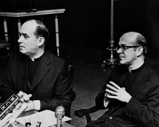 Archbishop Joseph L. Bernardin, left, in 1974 presents his new auxiliary, Bishop Daniel Pilarczyk.