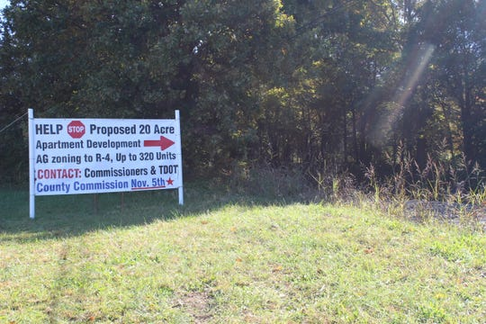 A sign on Boyd's farm urging neighbors to oppose the rezoning request.