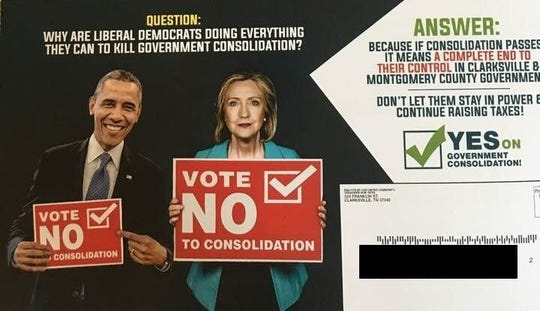 The mailer ads targeted voters from both the left and the right to vote for consolidation. (Address redacted by The Leaf-Chronicle.)