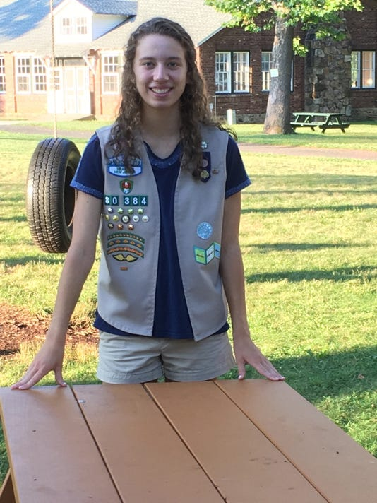 Shannon Powelson with Gold Award project picnic table