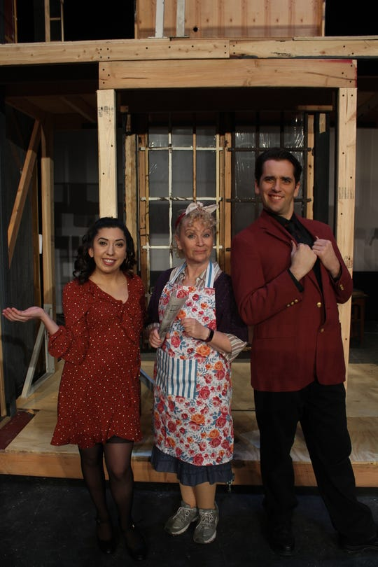 "Starring in Playhouse 22's production of ""Noises Off' will be, from left to right,  Melissa Mulica as Brooke, Deby Brandt as Dotty, and Tyler Barnick as Garry."