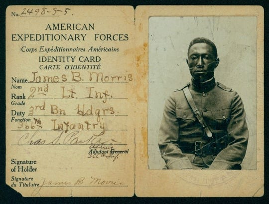Iowan James Morris served in the 3rd Battalion, 92nd Division, 366th Infantry in World War I.