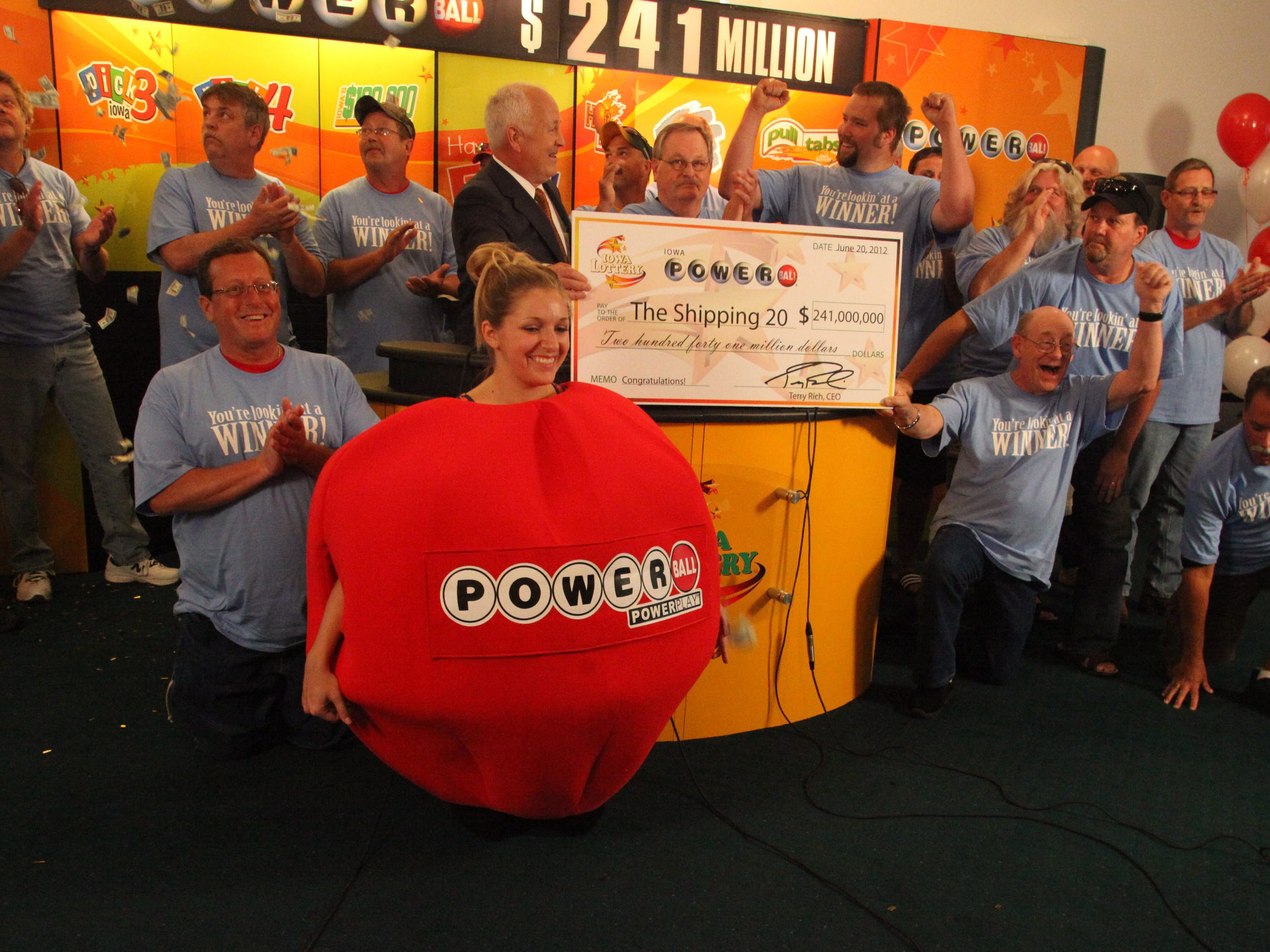 June 2012: The Shipping 20, a group of co-workers in the shipping department at the Quaker Oats plant in Cedar Rapids, split a $241 million Powerball jackpot.
