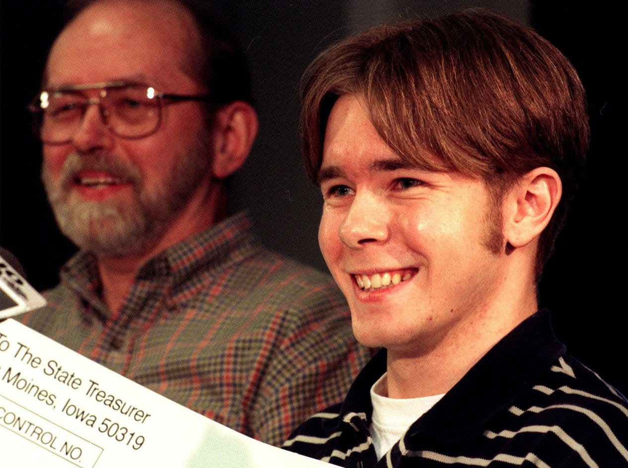 March 1999: Des Moines' Timothy Schultz, right, won a Powerball jackpot prize worth $28 million. At left is his father, Steve. Timothy, a Hoover High grad, was a college student working part-time at a Coastal Mart when he bought the ticket.