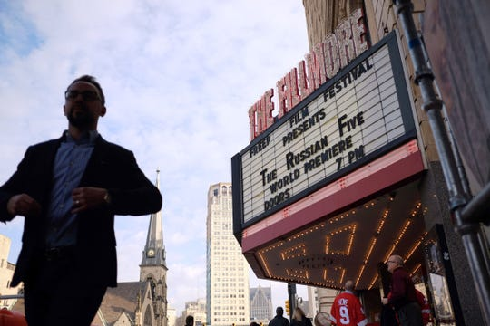 """The marquee for the world premiere of """"The Russian Five"""" is seen during the opening night for the Freep Film Festival at The Fillmore in downtown Detroit on Wednesday, April 11, 2018."""
