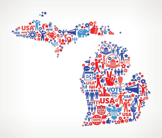 Michigan Vote and Elections USA Patriotic Icon Pattern.