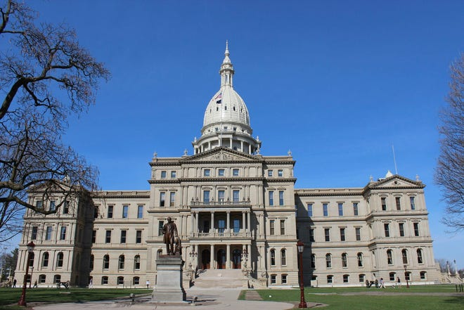 Michigan state Capitol building in Lansing, Mich.