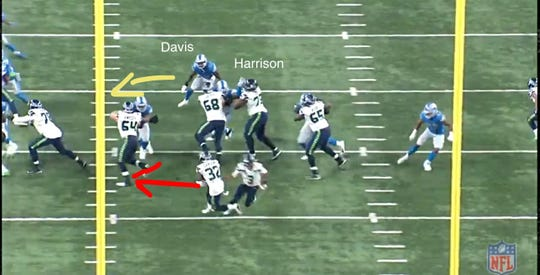 An example of how Lions defensive lineman Damon Harrison freed up linebacker Jarrad Dave to make a tackle in the loss to the Seahawks on Sunday, Oct. 28, 2018, at Ford Field.