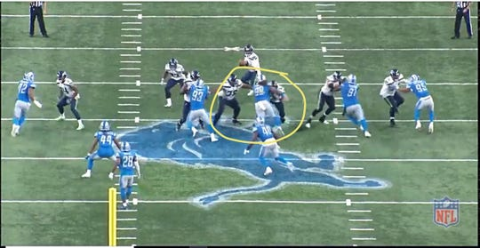 Lions defensive lineman Damon Harrison splits a double team to sack Seahawks quarterback Russell Wilson on Sunday, Oct. 28, 2018, at Ford Field.
