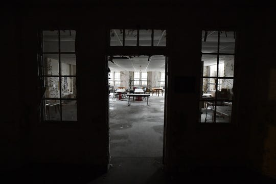 "A large room on the first floor of ""D"" building built in 1931, one of 78 buildings that made up the Eloise complex."