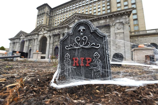 Tombstones are seen outside Michigan Central Station Tuesday in anticipation of Wednesday's  Halloween Bash.