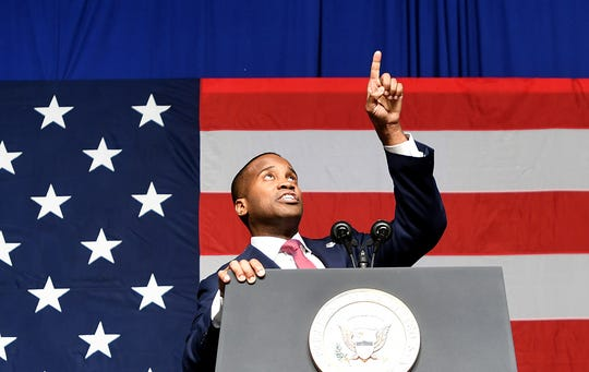 Republican businessman John James at a U.S. Senate campaign rally in Michigan in 2018.
