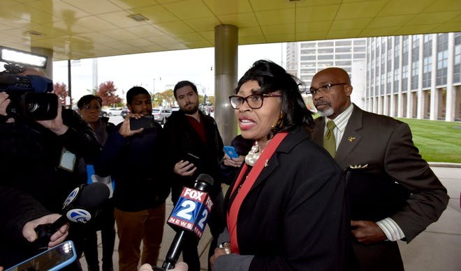Detroit City Council President Brenda Jones speaks to the media Tuesday about her decision to conduct a write-in campaign for Michigan's 13th Congressional District seat.