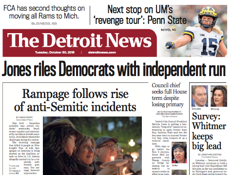 The front page of The Detroit News on Tuesday, October 30, 2018.