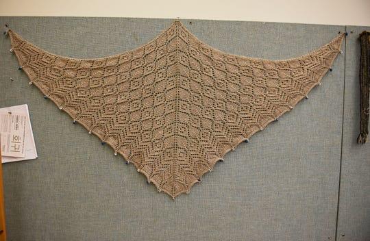 A wool shawl by fiber artist Michael Fitzgerald.