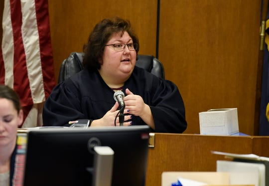 Judge Margaret Van Houten gives instructions to the jury after they announced that they could not reach a verdict. She told them to continue deliberations after lunch.