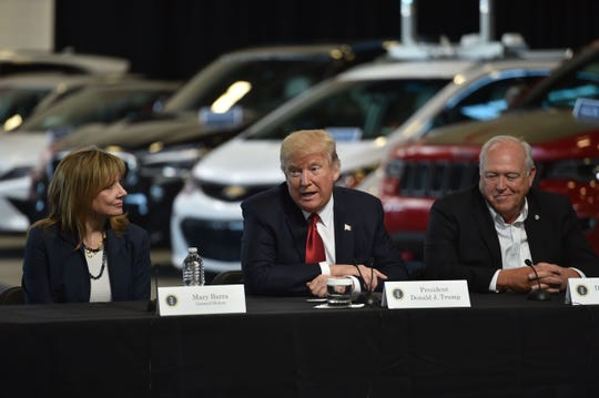 President Donald Trump delivers remarks at the American Center for Mobility in Ypsilanti, Michigan with General Motors CEO Mary Barra and Dennis Williams, United Auto Workers president, on March 15, 2017.