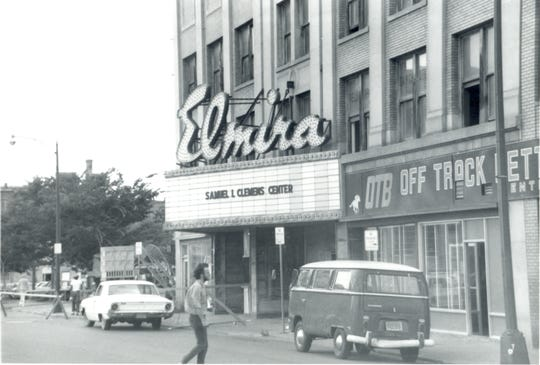 The Elmira Theater is shown in 1977, the year it became the Clemens Center.