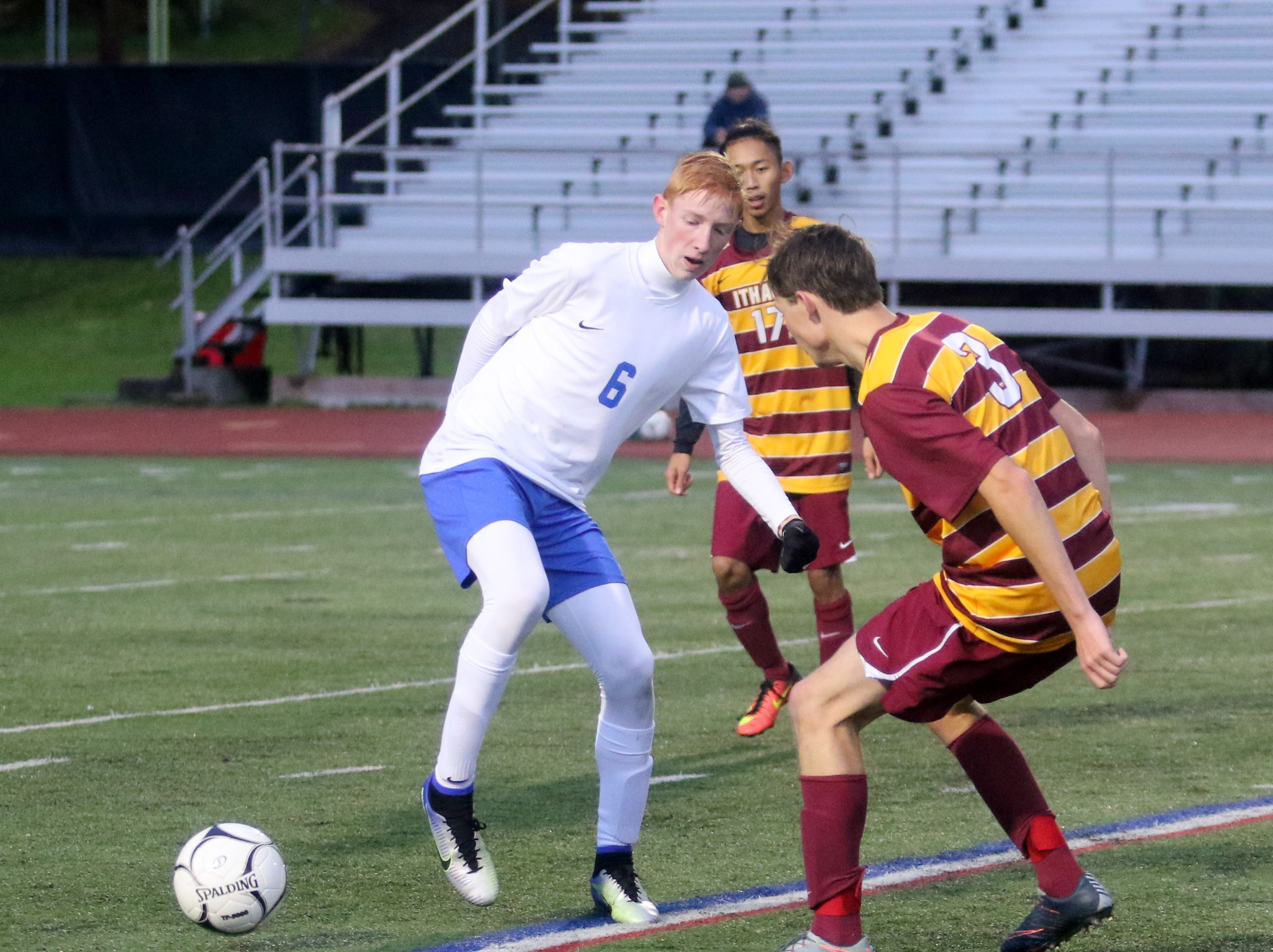 Horseheads and Ithaca played to a 1-1 tie in the Section 4 Class AA boys soccer final Oct. 29, 2018 at Ithaca High School. The teams were co-champions, but Horseheads was a 4-3 winner in a penalty-kick shootout to advance to the state tournament.