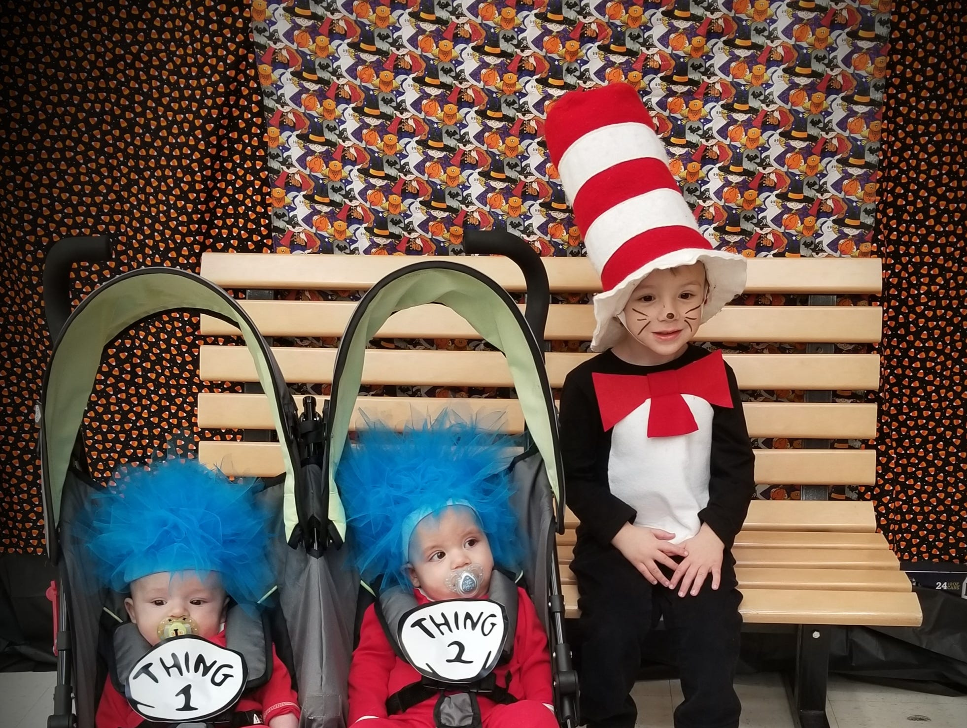 Ethan Witt, 3, dressed as the Cat in the Hat, is from Maribel, son of Ben and Bridget Witt. Asher Witt, 5 months, dressed as Thing 2, is from Maribel, son of Ben and Bridget Witt. Isak Lindgren, dressed as Thing 1, is from Maribel, son of Karl and Michelle Lindgren.