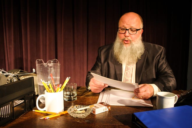 """Michael PJ Foos portrays Dalton Trumbo in the Fremont Community Theatre's """"Trumbo: Red, White, and Blacklisted,"""" which starts Friday at the FCT."""