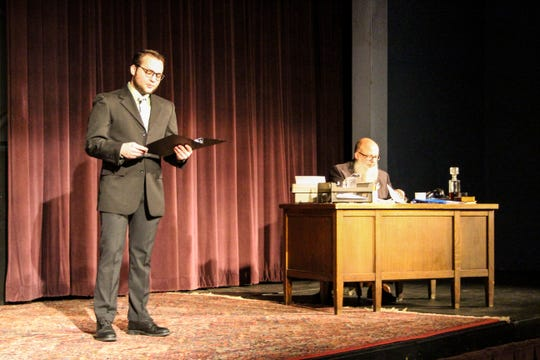 """Cyrus Foos (standing) and Michael PJ Foos star in the Fremont Community Theatre's """"Trumbo: Red, White, and Blacklisted ,"""" which opens Friday night and runs through Sunday at the FCT."""