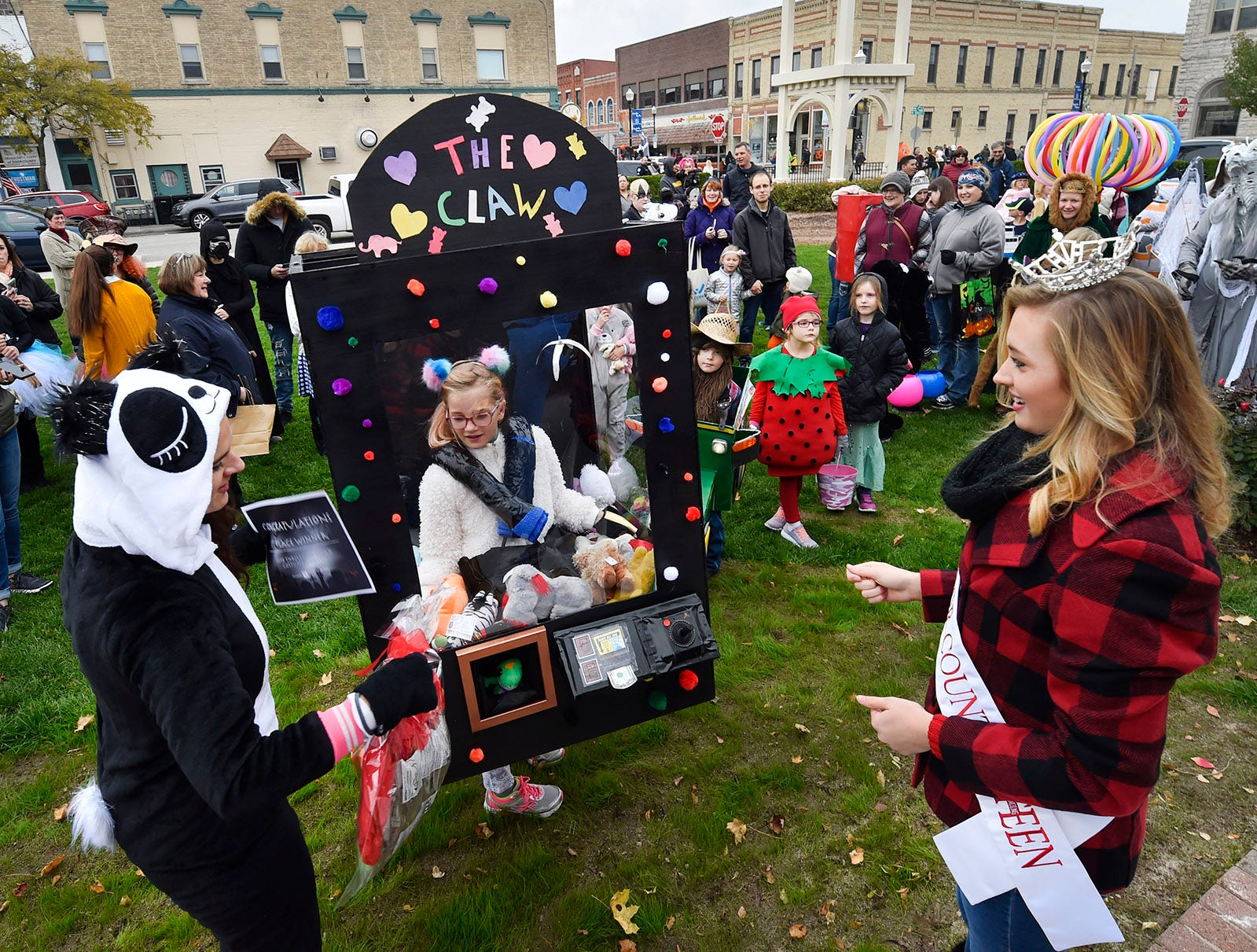 "The champion was ""The Claw'' worn by Ophelia Linnan at the Thrills on Third costume parade on Saturday, Oct. 27, 2018, in Sturgeon Bay. Tina M. Gohr/USA TODAY NETWORK-Wisconsin"
