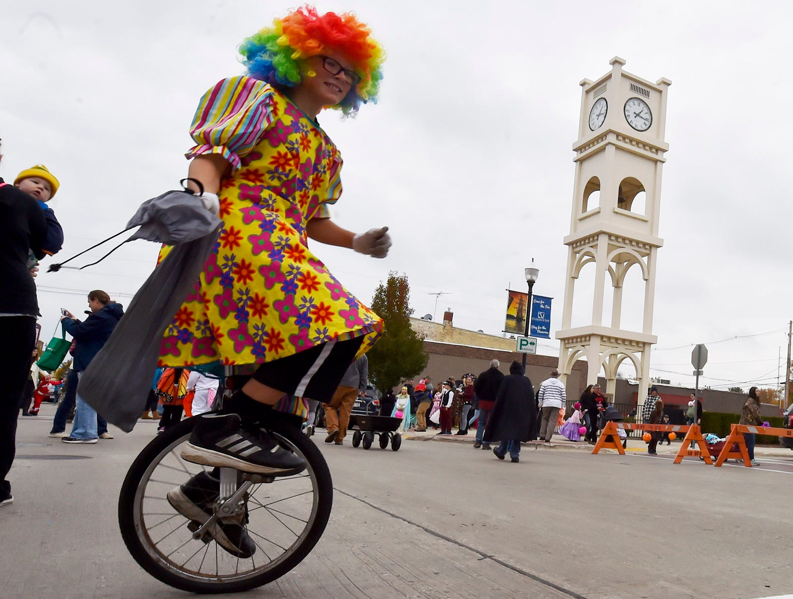Tristan Brilla rides a unicycle at the Thrills on Third costume parade on Saturday, Oct. 27, 2018, in Sturgeon Bay. Tina M. Gohr/USA TODAY NETWORK-Wisconsin